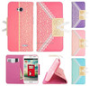 Lace Print Cute Bow Buckle PU Leather Flip Wallet Credit ID Card Slot Holder Phone Leather Case For Samsung Galaxy S5