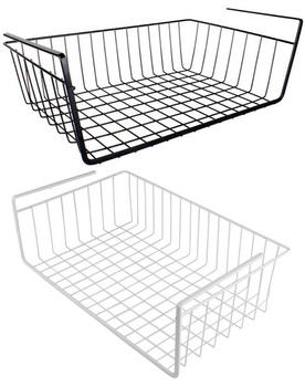 Under Shelf Sliding Organizer Wire Basket For Kitchen Cabinets Wardrobe Hanging  Storage