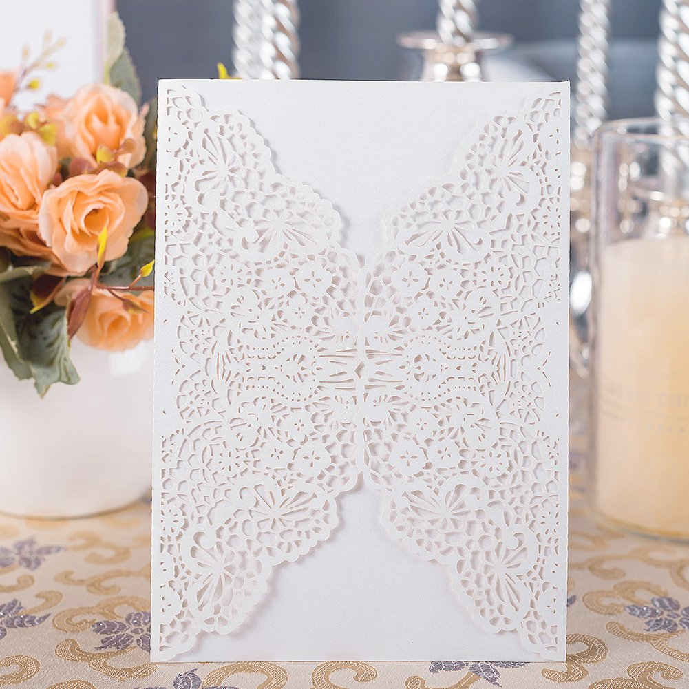 20pcs Elegant Wedding Invitation Cards Cover Laser Cut Flower Lace Invitation Template Cardstock for Bridal Baby Shower Engagement Birthday Party Graduation