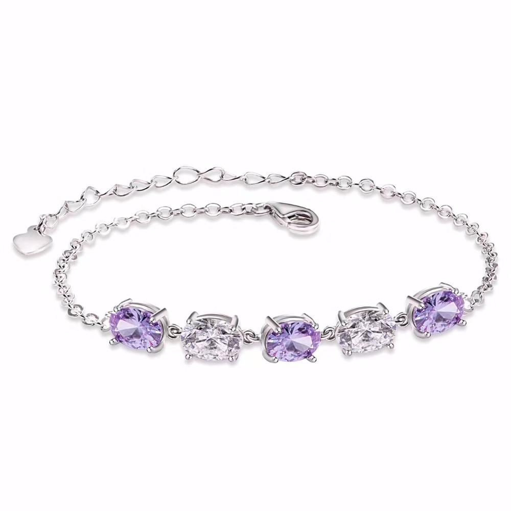 f7a05ad16856 Venta caliente de las mujeres joyas de amatista pulsera de plata de ley 925