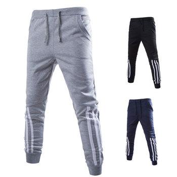 beca9e83abc Los hombres Jogging pantalones liso de algodón elástico de la cintura Pantalones  de deporte