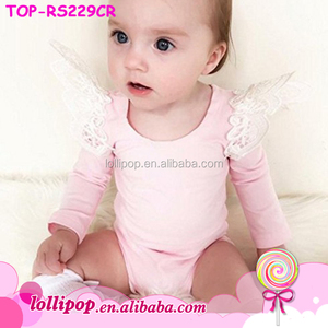 Baby Clothes Romper Newborn Angel Wing Lace Ruffle Bodysuit Long Sleeve Flutter Sleeve Baby Romper Clothes