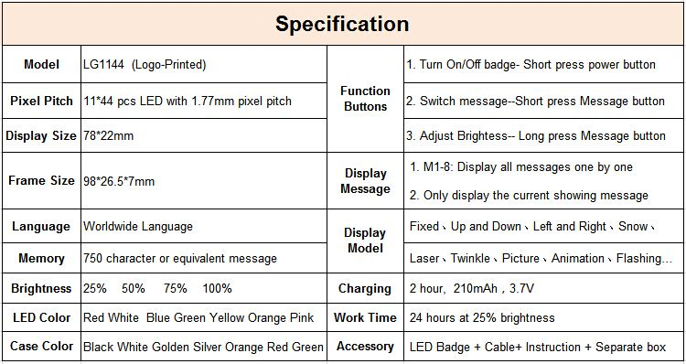 lg1144 custom programmable led name badge name tag led signs buy