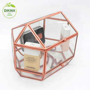 wholesale jewelry cosmetic custom organic glass acrylic makeup case clear drawer / mirror lids small wood gift box