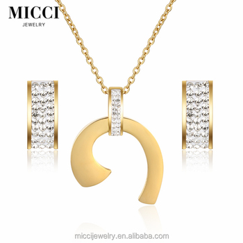 2017 New Design Necklace Earring Stainless Steel Set Jewelry