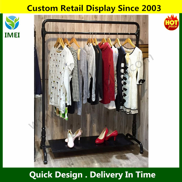 metal clothes rack for sales black white metal retail clothing display rack single style YM07358