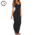 Customize Ladies Black Ribbed Button Detail Maxi Dress