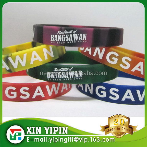 Hot customized Printed Logo Mixed Silicone Wristband/Silicone Bracelets/Silicone Wristband