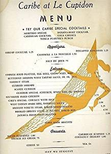 Caribe at Le Cupidon Menu East 58th St New York City 1950's Supper Club
