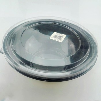 Health Black Disposable Food Grade Plastic Salad Bowl With Lids
