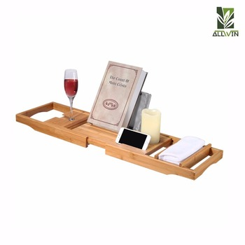 2018 Newest Design Natural Bamboo Bathtub Caddy Tray