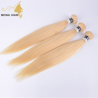 Factory Price Straight virgin Blonde raw hair bundles no tangle no shedding Indian human hair extension color 613