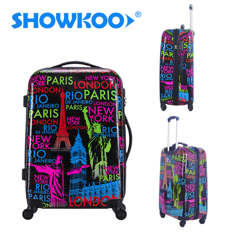 Custom Print 4 Wheels Spinner Suitcase 16/20/24/28'' 4 pcs Animal Flower Girls Hard Travel Luggage