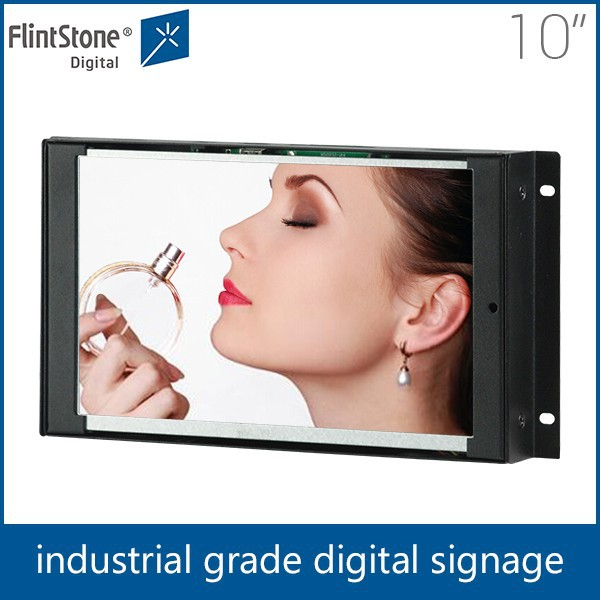 Flintstone 10 inch shopping mall digital screen promotion display, desktop standing lcd monitor, download hd 1080p video