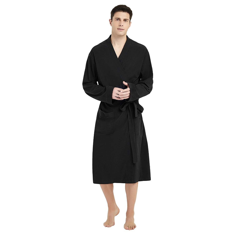 RRINSINS Mens Robe Home Homewear Woven Comfort Soft Casual Nightgown