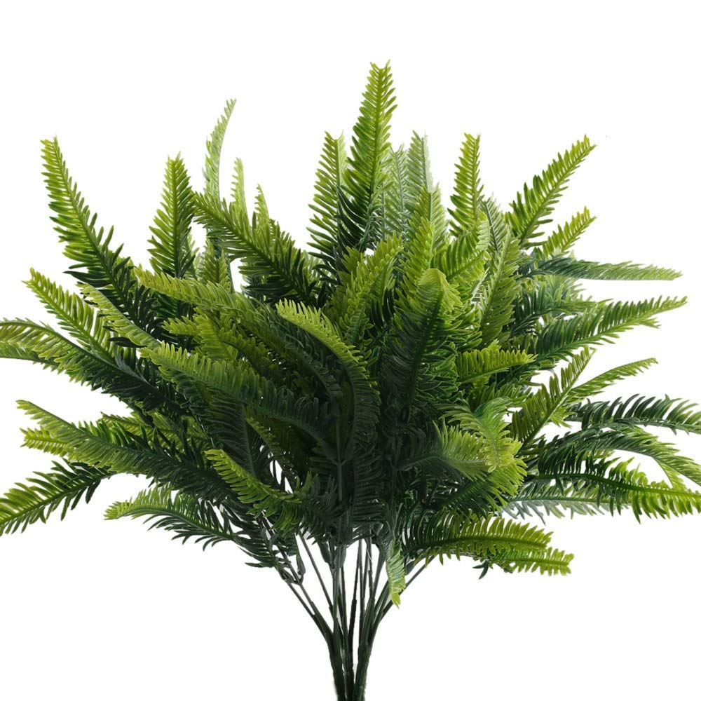Get Quotations Nahuaa 4pcs Artificial Boston Fern Plants Fake Shrubs Bundles Faux Plastic Greenery Bushes Indoor Outdoor Hanging