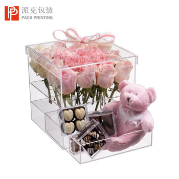 Different Design Cardboard / Acrylic Luxury Packaging Round / Square Box For Flowers with customized Logo