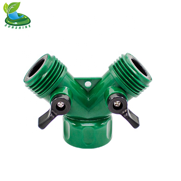Plumbing Home Improvement Hose Pipe Splitter 2 Way Quick Connector Adapter Y Shape Brass Garden Tap Water Diverter For Irrigation With On/off Valve