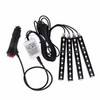 4pcs Car Interior Atmosphere Neon 9 LED Lights Strip 5050 RGB SMD Flexible Strip Light 12V + Remote Controller