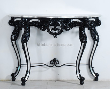 Luxury Home Decorative Wood Console Table Antique Hand Carved Side Desk Black And Silver