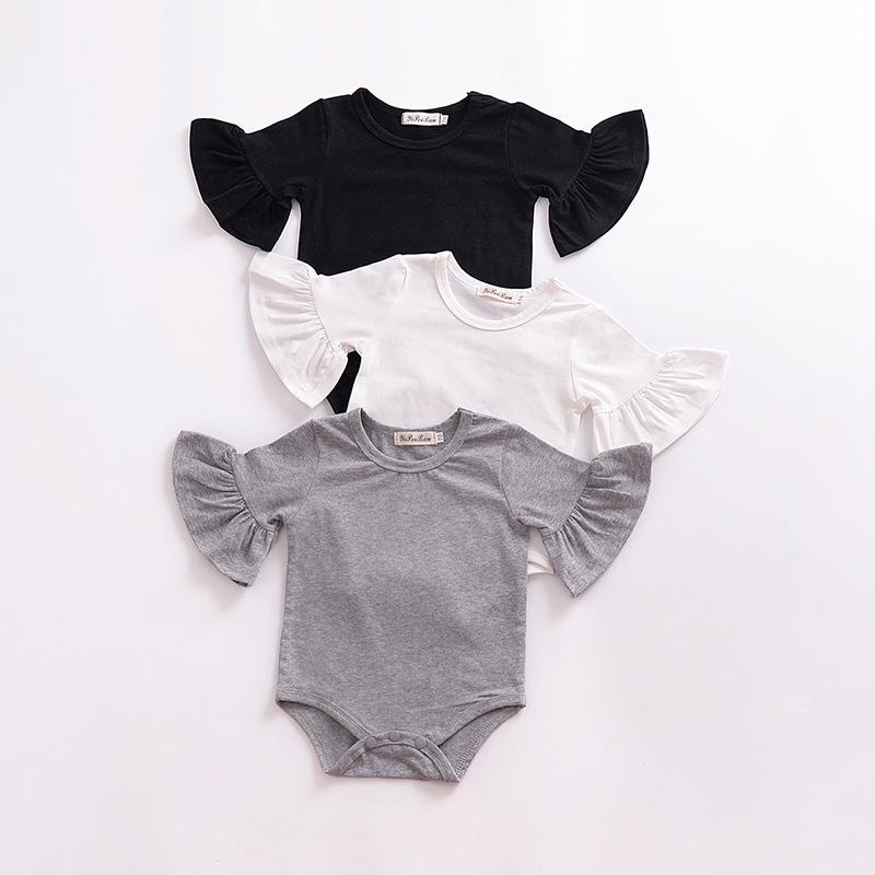Solid Color Muslin Fabric Cotton Clothes Flutter Sleeve Baby Romper фото