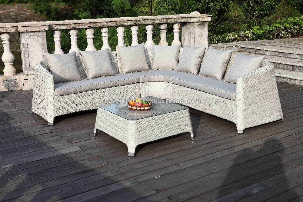 Luxury PE Rattan Large Garden Sofa Set Wicker Outdoor Furniture