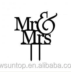 Black Mr&Mrs Acrylic Wedding Cake Topper Cheap Custom Accessory