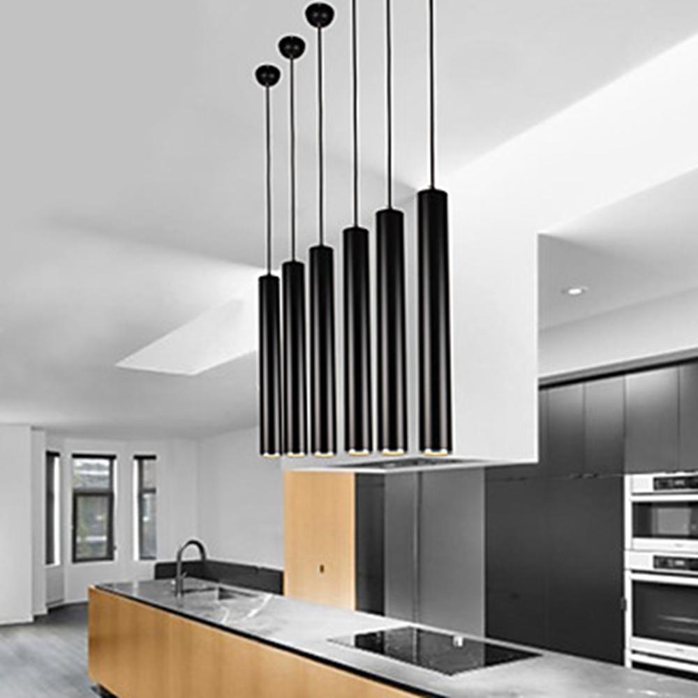 Современные трубки металла LED открытый подвесные светильники столовая кухня Остров