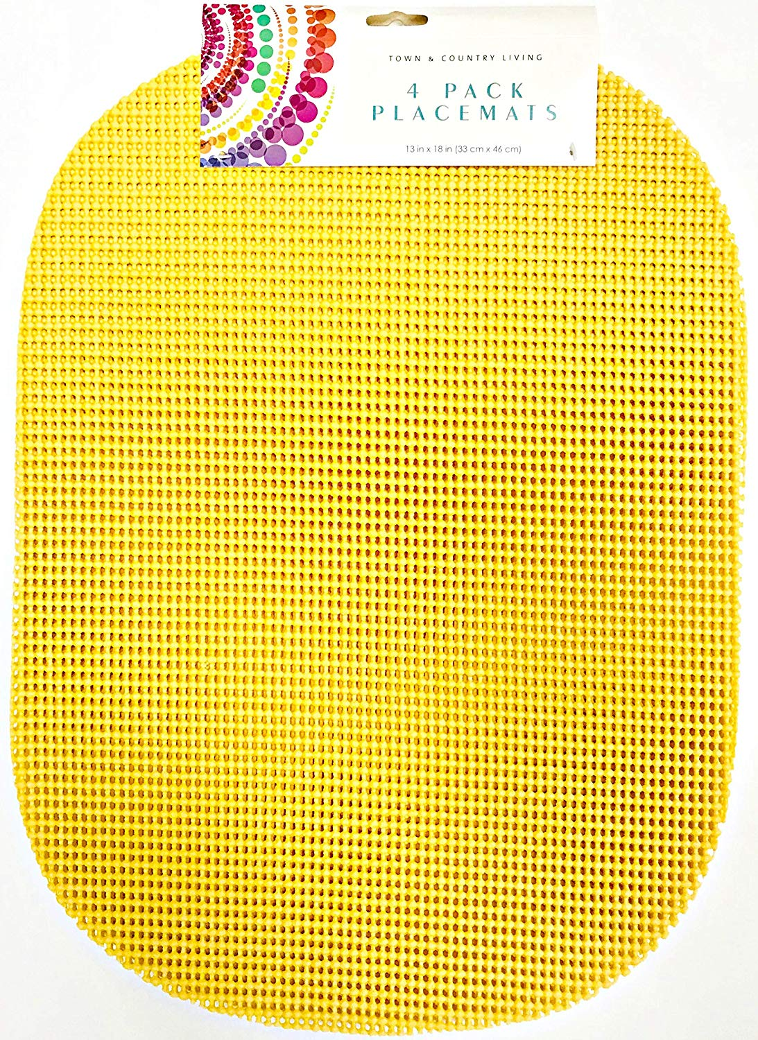 T & C Colorful Waffle Mesh | Set Of 4 | Place Mats | 18 inches x 13 inches | Easy Clean (Sunny Yellow)