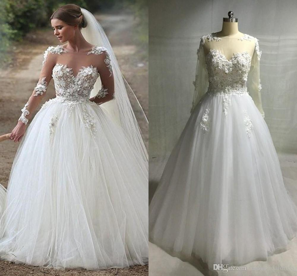 C012 perempuan Lace V Leher Panjang Wedding Dress Appliques Beaded Bridal Gown
