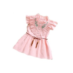 Wholesale casual children cotton embroidered flower baby girl dresses baby dress summer