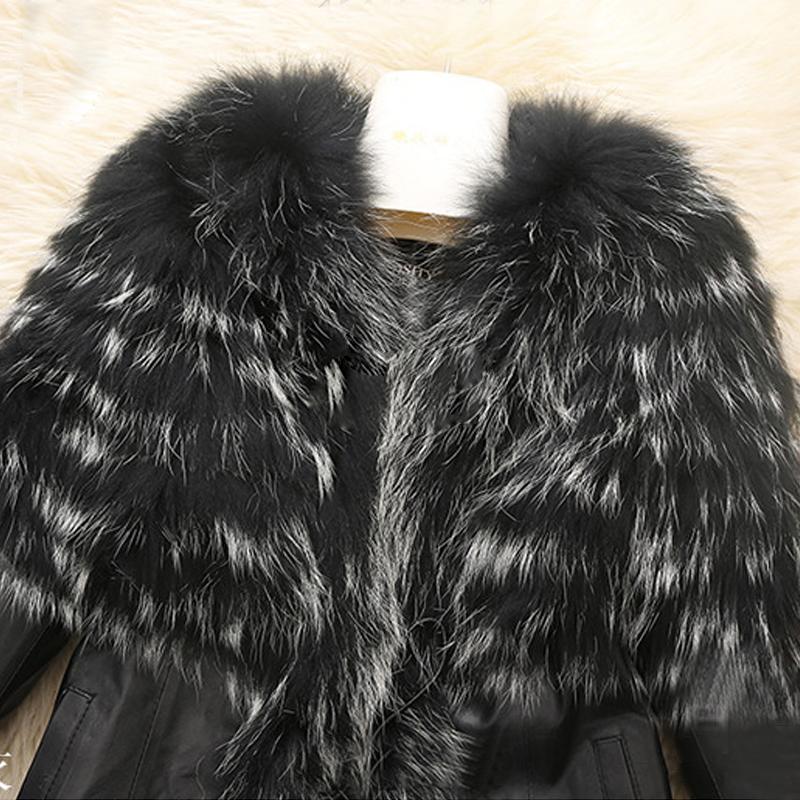 Зима средней длины теплый меховой воротник пальто кожи хлопка куртки тренч пиджаки шинель куртка Q1604