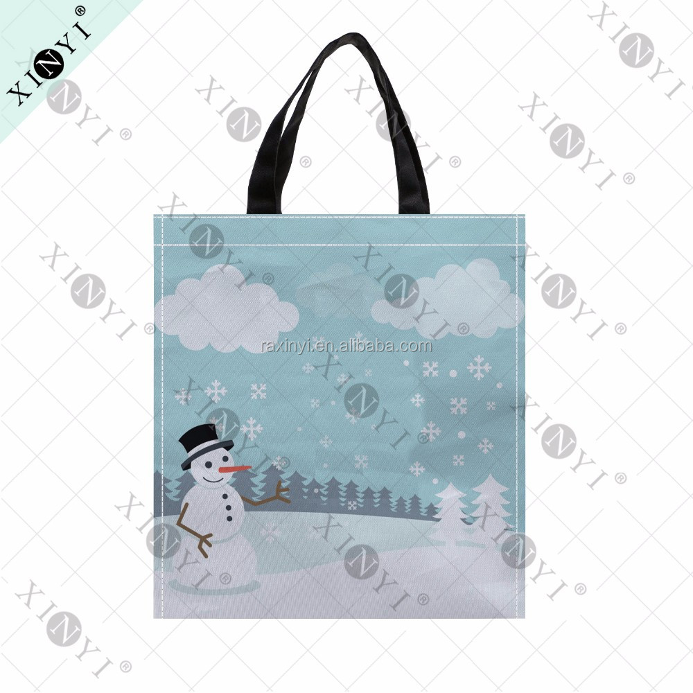 Snowman printing eco christmas gift bag fashion promotional nonwoven folding shopping bag