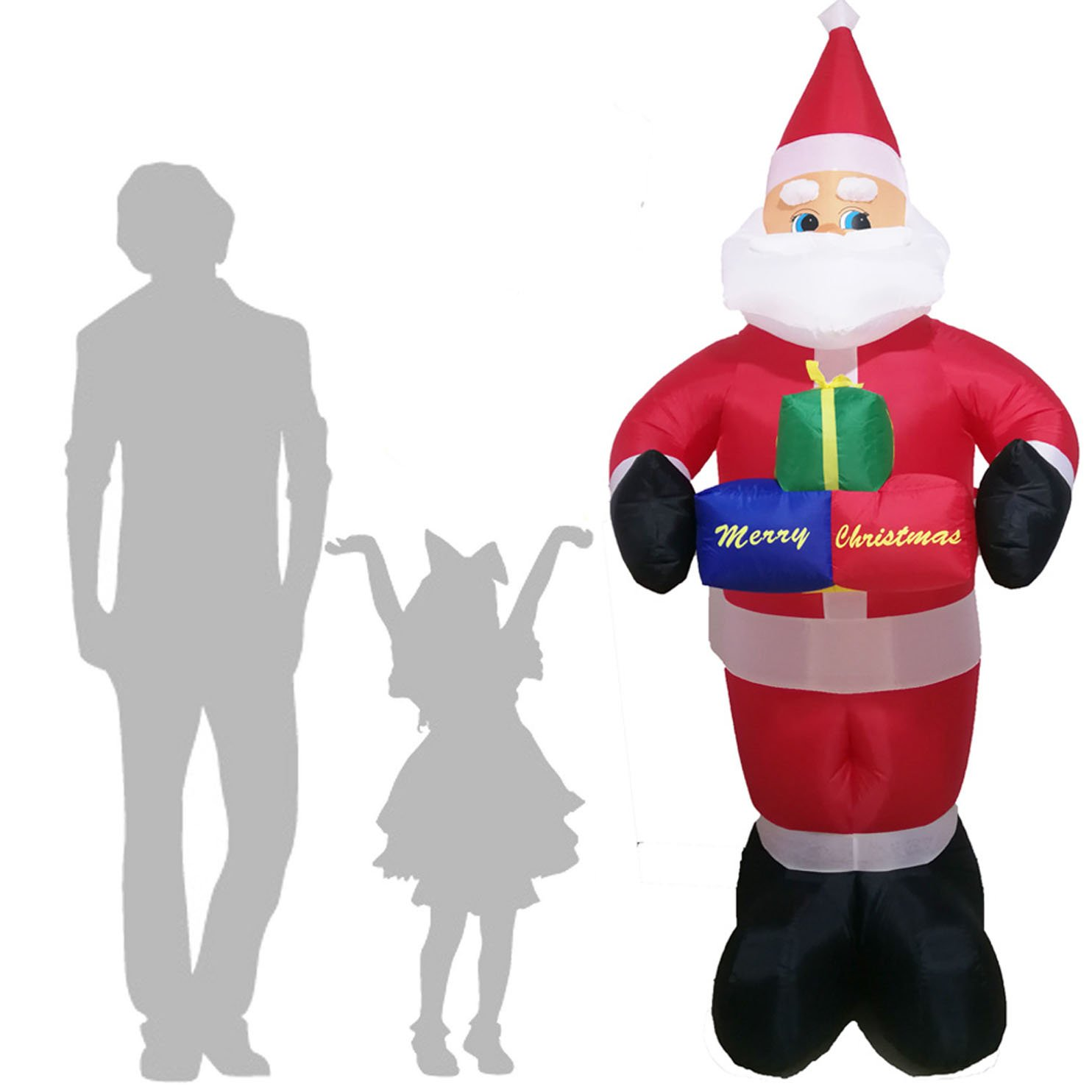 animated 8 foot wide christmas inflatable santa claus flying ...