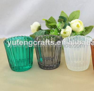custom colors small glass candlestick holder for wedding / home deco