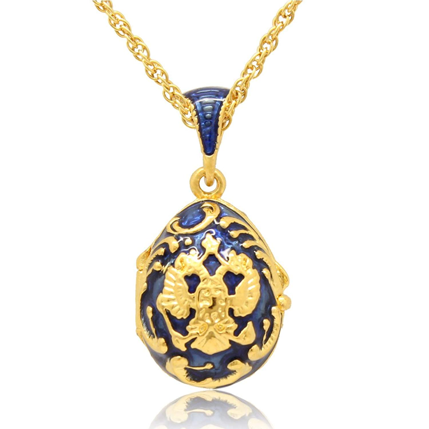 MYD Jewelry Hand Enamel Crystal Russian Coat of Arms Faberge Egg Locket Pendant Necklace Chain Included