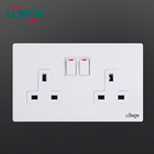 Excellent quality white pc metal 13A outlet function switch 2 gang uk wall twin switch socket ultra slim 2 gang socket