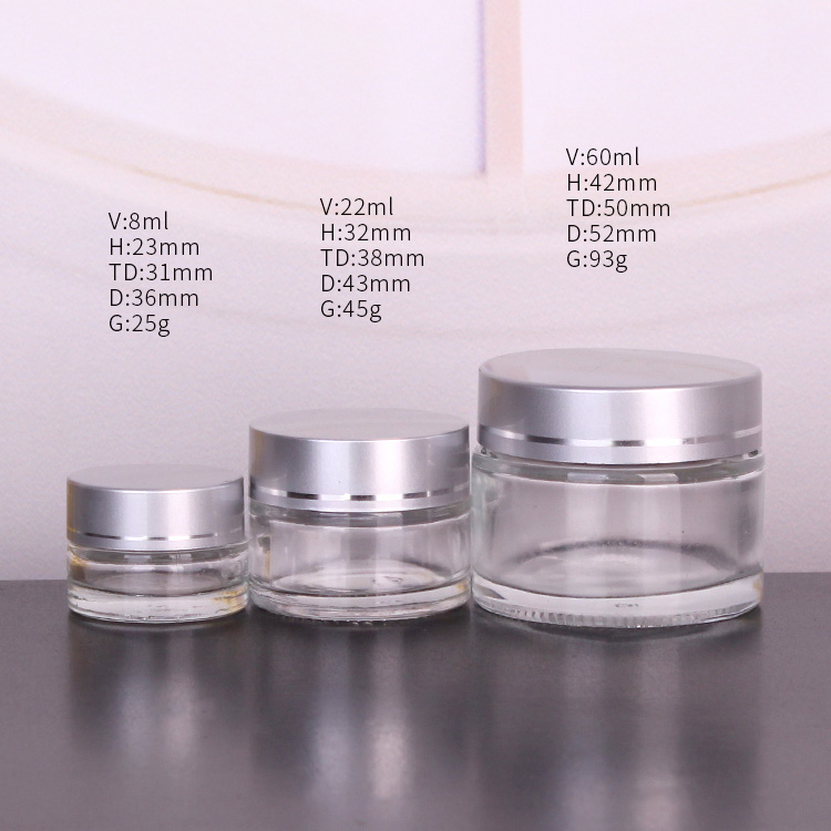 Bulk Wholesale Custom Color 1oz-4oz Glass Cosmetic Jars For Facial/Eye Cream