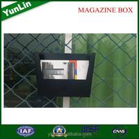 2015 cheaper price metal magazine boxes with rattan magazine rack