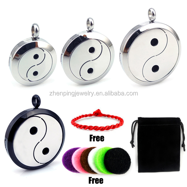 Round Silver/Black Yin Yang (20-30mm) Aromatherapy Stainless Steel Essential Oils Diffuser Jewelry Locket with Free Chain