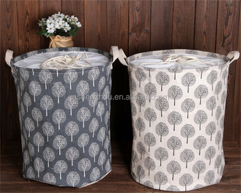 Promotional high quality custom cotton linen round collapsible storage basket hamper, foldable large laundry bag basket
