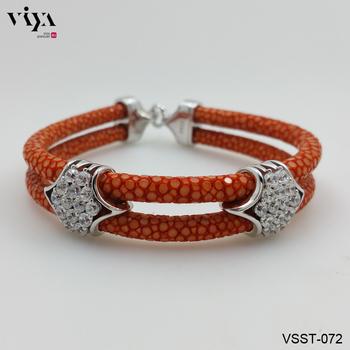 Orange Stingray Leather Bracelet