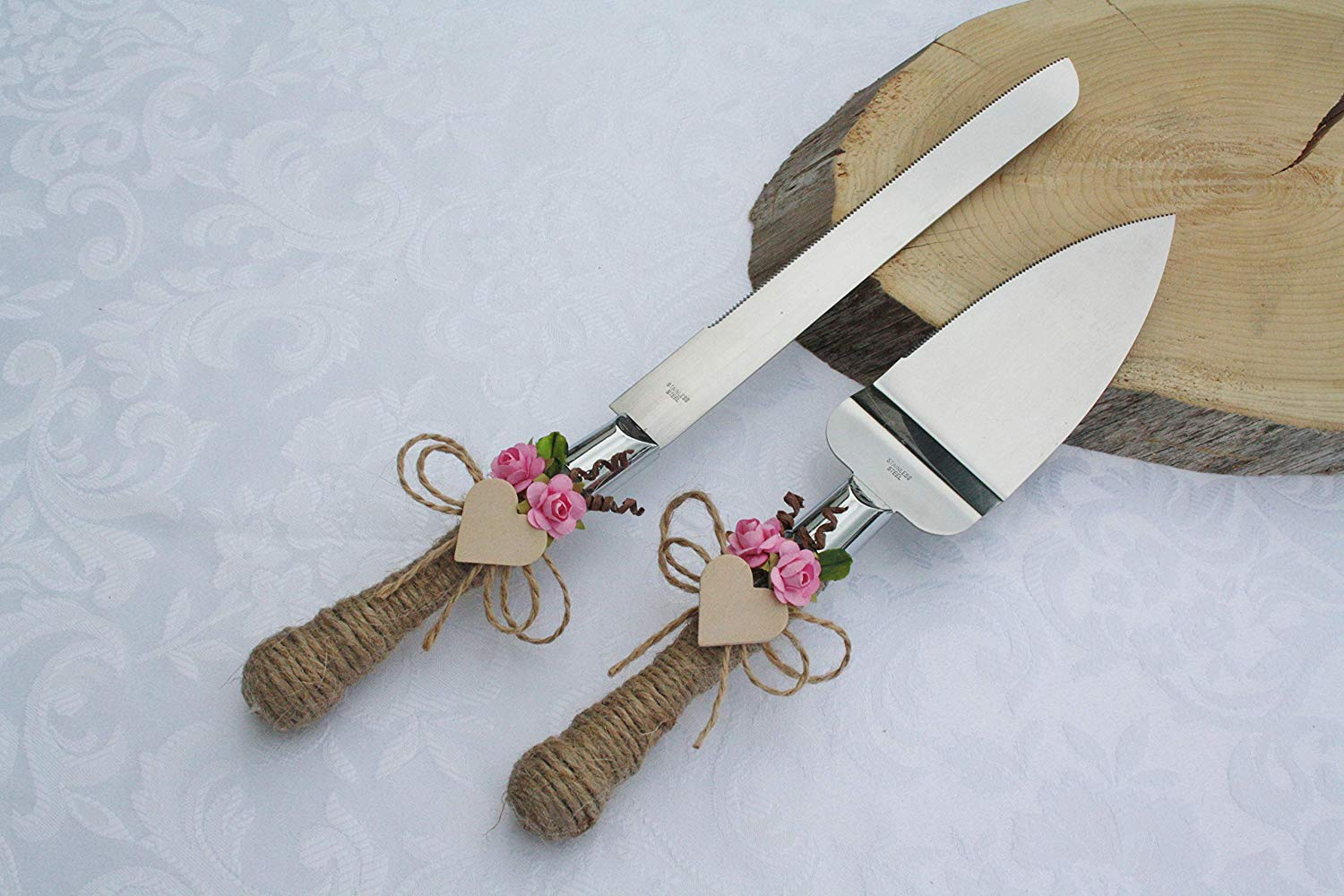 Get Quotations Rustic Chic Wedding Cake Cutter Pink Server Set Country