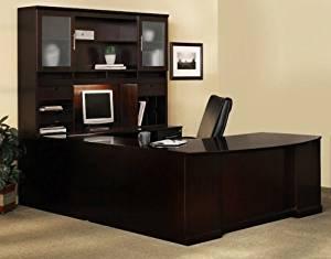 "Mayline U Shaped Bow Front Desk W/Hutch Overall Footprint: 72"" X 111"" X 72"" Bow Front Desk: 72""W X 39""D X 29 1/2""HBridge: 48"" X 20"", Credenza: 72""W X 24"" - Espresso - Bridge on Right (Shown)"