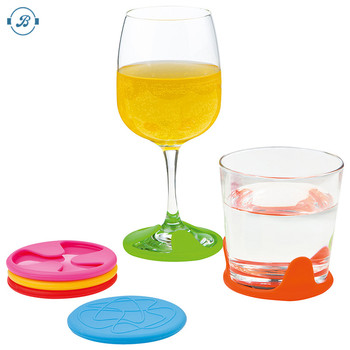 FDA & LFGB Round Shape new creative Silicone Wine Charms Grip Coaster/Silicone Grip Coaster Wine Charms