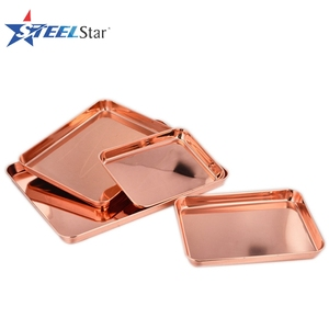 Copper plating Stainless steel mirror food serving tray with good quality minimun size