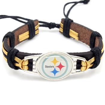 New Custom All 32 Designs American Football Teams Nfl Leather Pittsburgh Steelers Bangle Jewelry Bracelet
