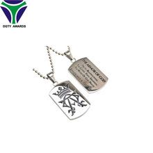 Personalized wholesale blank Metal charming printed necklace custom dog tag