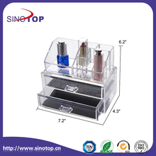 Women Makeup Organizer with 2 Drawers+9 Compartments and Black Mesh Padding Clear Makeup Box Set