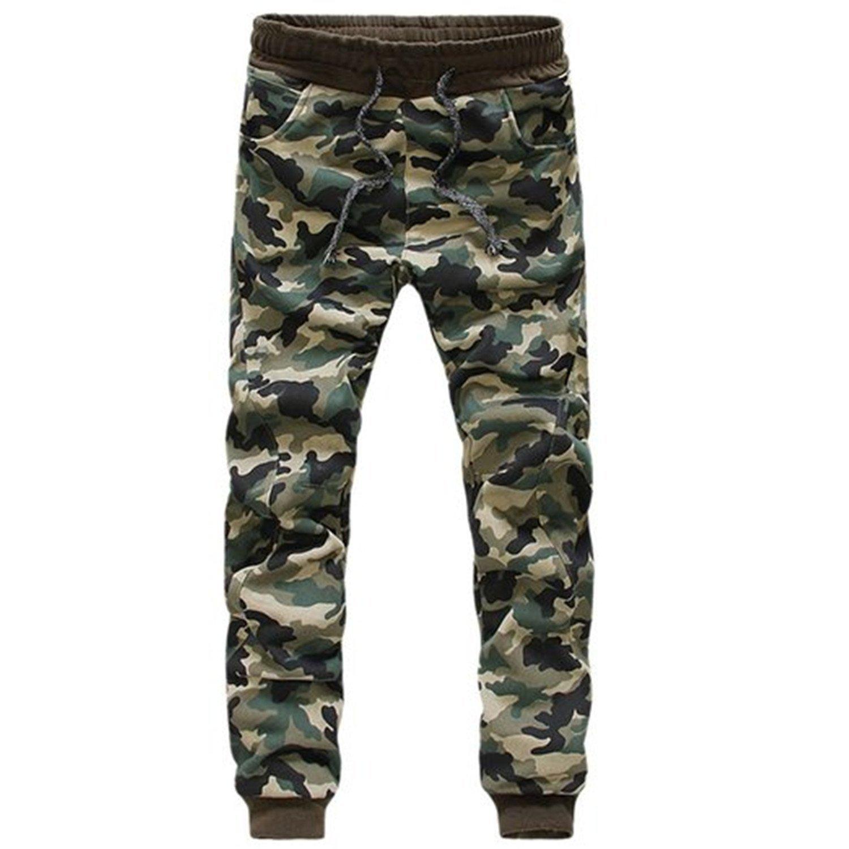 Mens Fashion Camouflage Jogging Harem Sweatpants Camo Cargo Pants Cuffed